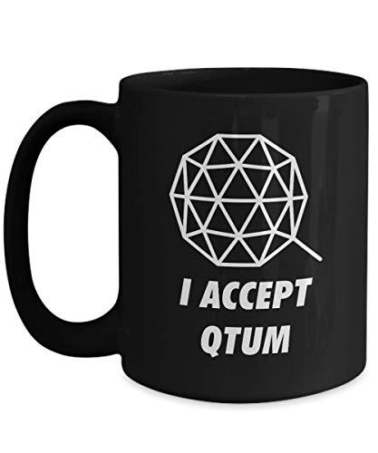 Officiell I Accepterar Qtum kryptovaluta stor mugg akryl kaffehållare svart 325 ml krypto gruvarbetare blockkedja investering handel köp sälj Hold QTUM