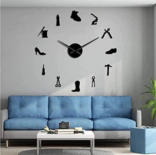Reloj de pared para reparación de zapatos, para manualidades, gigante, sin marco, grande, silencioso, zapatería, zapatero, zapatero, decoración de habitación, 68,5 cm