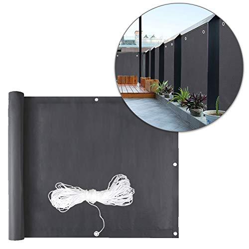 wolketon 75x600cm PVC Balkon Sichtschutz Balkonbespannung PVC Balkonverkleidung, Balkonsichtschutz Windschutz Wasserdicht Blickdicht, 0.75*6M, Anthrazit