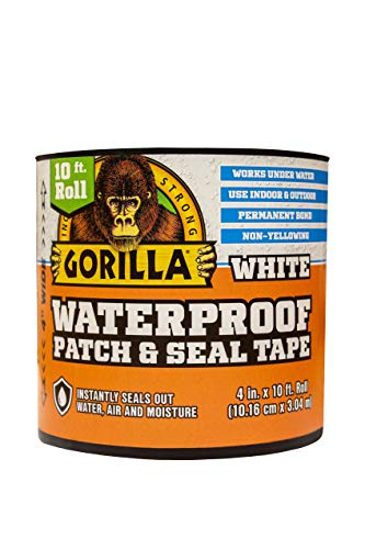 Gorilla Waterproof Patch & Seal Tape, 4' x 10', White (Pack of 1)
