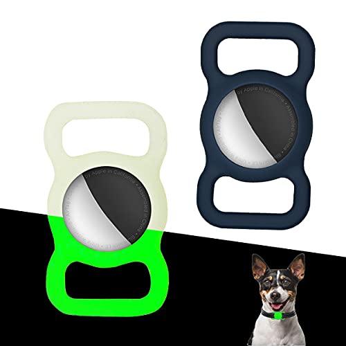 Funda Protectora Airtag Collar para Perro o Gato, Funda Protectora para Airtag, 2 Piezas GPS Cubierta Anti-Perdida del Localizador del Bolso De Escuela del Collar del Mascotas