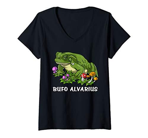 Damen Bufo Alvarius Kröte Psychedelische 5 Meo DMT Ayahuasca Trip T-Shirt mit V-Ausschnitt