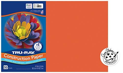 Tru-Ray Heavyweight Construction Paper, Orange, 12' x 18', 50 Sheets