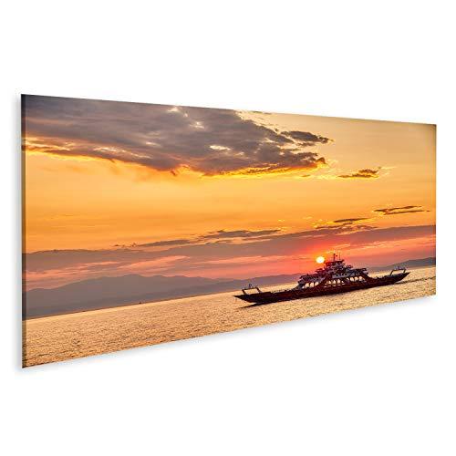 bilderfelix® Bild auf Leinwand Fähre zum Meer bei Sonnenuntergang im Hintergrund von Bergen und von Sonnenstrahlen, Laufen von Keramoti-Stadt zur Thassos-Insel in Griechenland Wand