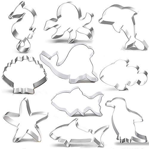 Ocean Cookie Cutters Set - 10 Piece - Seashell Starfish Seahorse Seal Dolphin Octopus Penguin Shark Clownfish,Sea Creatures Biscuit Cutter Molds for Kids Birthday Party Supplies Favors