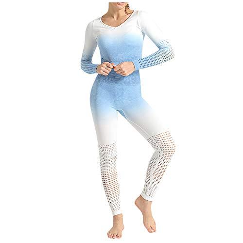 Fenverk Damen Leggings Set, Jogginghose High Waist Yoga Hose Herz Sporthose Frauen Elastisch Leggins Push Up Fitnesshose Gym Workout Tights,Sport Leggings,Tights,Ballettstrumpfhose(B Blau,M)