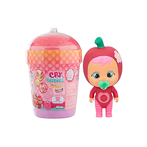 Cry Babies Magic Tears Casetta Smoothy Tutti Frutti - Mini Bambola a Sorpresa da Collezione Profumata con Lacrime vere e 9 Accessori, Giochi Bambole per Bambina y Bambino