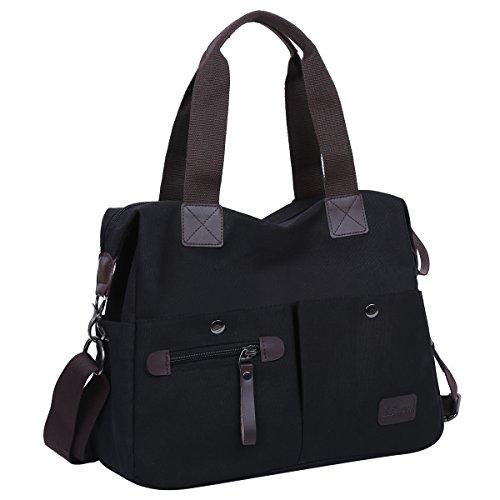 Eshow Damen Umhängetasche Handtasche Canvas Segeltuch mit Handgriff Anti diebstahl Fächern Schwarz zu Einkaufen spazieren