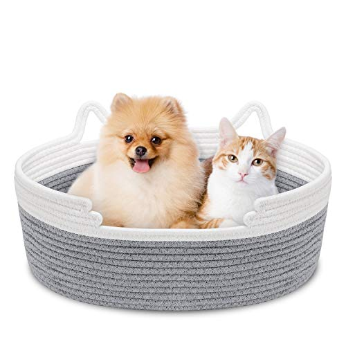 Zannaki Cute Cat Bed with Cushion, Soft Cotton Woven Basket Nest with Pillow Mat for Kitty Small Dog Puppy, Soft Style Scratch-Free Machine Wash Foldable Small Pet Animal Beds