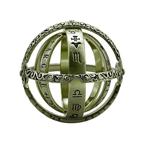 Cwemimifa Prinzessin Diana William Kate Ring Verlobungsring damenring 925 Sterling Silber, Öffnender Ring Astronomical Globe Ring Vintage Wissenschaft Schmuck, Armeegrün, Free Size