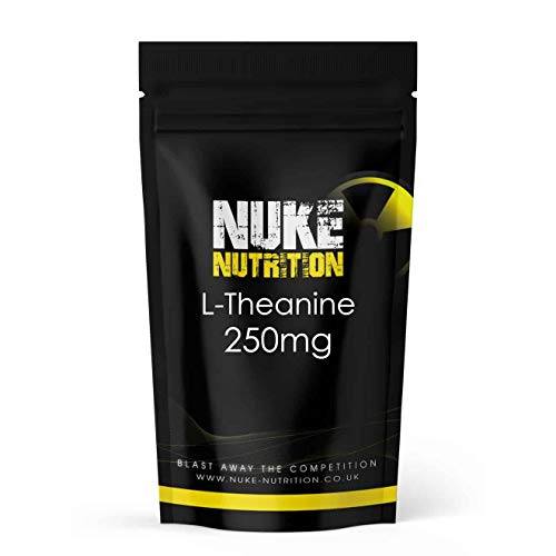 Nuke Nutrition L - Theanine Tablets | 180 Capsules | High Strength 250 mg Per Vegan Capsule Supplement | Aids Sleep, Memory, Stress and Relaxation | Vegan Supplements | Non GMO, Gluten & Dairy Free