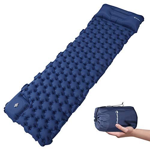 Istarziberlla - Colchoneta de dormir con almohada, colchón de aire inflable con bomba de pie integrada, ultraligera de 0,7 kg para senderismo, camping, mochila y viajes, con bolsa de cosas, 193 x 58,4 x 6,3 cm (azul)