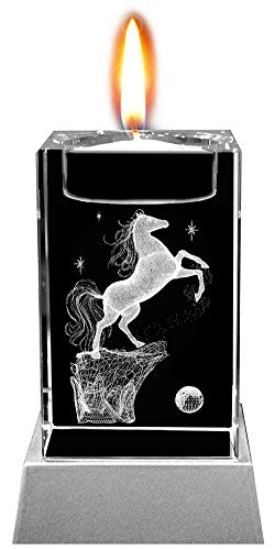 Kaltner Präsente Stimmungslicht LED Kerze/Kristall Glasblock / 3D-Laser-Gravur Teelichthalter Pferde