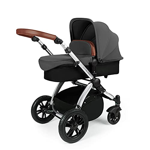 Ickle Bubba Stomp V3, All-in-one Travel System: Includes carrycot, Reversible Pushchair, Galaxy Group 0+ car seat with Isofix Base (Grey with Tan Handles, Silver Chassis)
