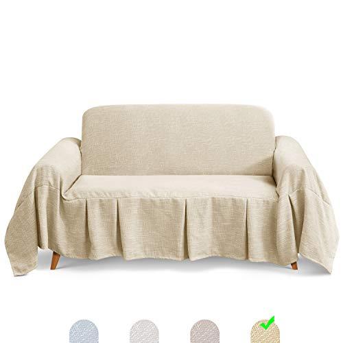 TAOCOCO Sofadecke Sofaüberwurf Sofabezug Bedspread Plaid Picknickdecke (Beige, 2 Sitzer (260 x 210 cm))