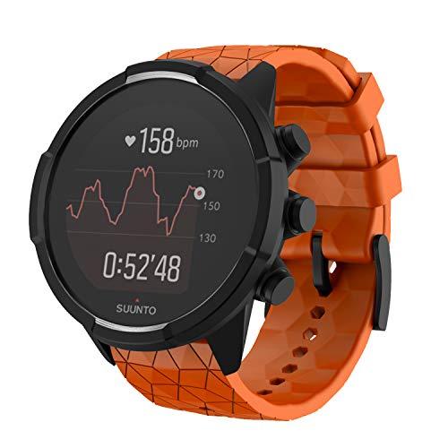 NotoCity Armband für Suunto 9 Spartan/Titanium/Smart Watch GPS/Suunto Spartan Sport Wrist HR, 24mm Premium Silikon QuickFit Armbänder für Suunto 9, Mehrfache Farben (Orange)