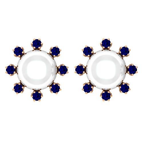 Pendientes de tuerca de perlas de agua dulce de 8 mm, zafiros azules, pendientes de oro con rosca trasera blanco