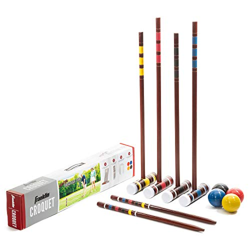 Franklin Sports Croquet Sets - Includes Croquet Wood Mallets, All Weather Balls, Wood Stakes and Metal Wickets - Carry Case Included - Starter