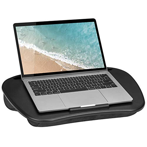 LapGear Mydesk Lap Desk with Device Ledge and Phone Holder - Black - Fits Up to 15.6 Inch Laptops - Style No. 44448