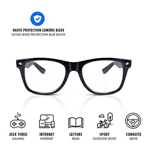 Lusee–Occhiali Gaming e Lavoro, Protezione Anti Luce Blu (Gioco, Computer, Smartphone, Tablet, TV, Gamer) Combatte la stanchezza, Lo Stress visivo e favorisce l' Addormentarsi Noir Mat Standard