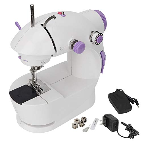 Mini Sewing Machine for Beginners, Portable 2 Speed 2 Thread Household Electric Sewing Machine with Needle Threader Bobbins