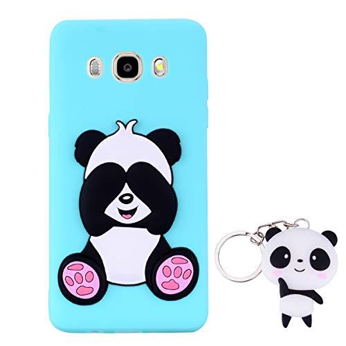 HopMore Panda Funda para Samsung Galaxy J5 2016 (J510) Silicona con Diseño 3D Divertidas Carcasa TPU Ultrafina Case Antigolpes Caso Protección Cover Dibujos Animados Gracioso con Llavero - Verde