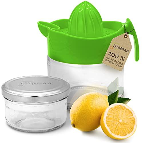 SYMPAA Exprimidor de limones Comfort Plus 2 de cristal, con tapa, exprimidor manual – Exprimidor de limones – Exprimidor de limones + almacenamiento en el frigorífico – Exprimidor de zumo sostenible