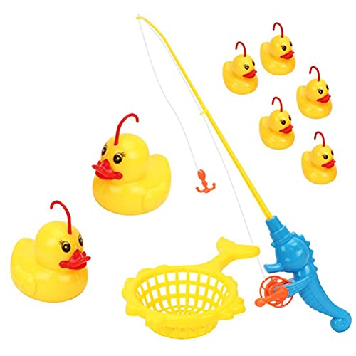 Wawogic 9 Unids/Set Juego De Pesca De Pato De Inducción Juguetes De Baño Ligeros Piscina para Niños Regalos Juguetes Interactivos De Pato Juguetes Educativos Tempranos