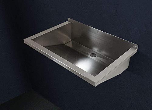 FRG Edelstahl 60 cm Rinne/Becken/Ausgussbecken/Waschrinne/Waschbecken/Waschtrog/Edelstahlrinne/Edelstahlbecken FRG