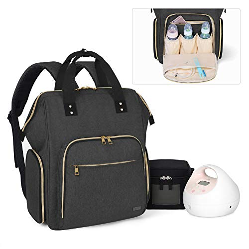 Luxja Breast Pump Bag with Compartments for Cooler Bag and Laptop, Breast Pump Backpack with Breastmilk Bottle Pockets (Fits Most Major Breast Pump, Suitable for Working Mothers), Black