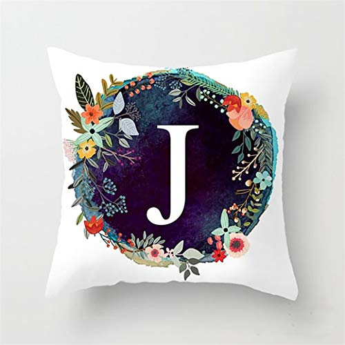 HBWHY Capital Letter Cushion Cover A-Z Decorative Cushion Covers Case Floral Pillow Cases for Home Office Sofa Couch Car Bed Cushions Accessories 45cm*45cm,J