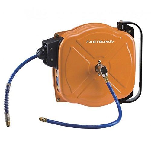 Enrollador Automático y Metálico con Manguera de Poliuretano Reforzado para Aire Comprimido de 15 metros - Conexión de 1/4
