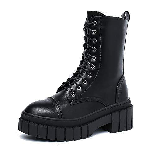 Dottie Women's Ankle High Platform Chunky Combat Boots, Lace Up Side Zipper (DA17, US 10)