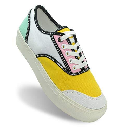 Shoe Republic LA Women's Fashion Colorful Canvas Platform Sneakers Comfort Casual Walking Shoes Voodoo Yellow Size 7.5