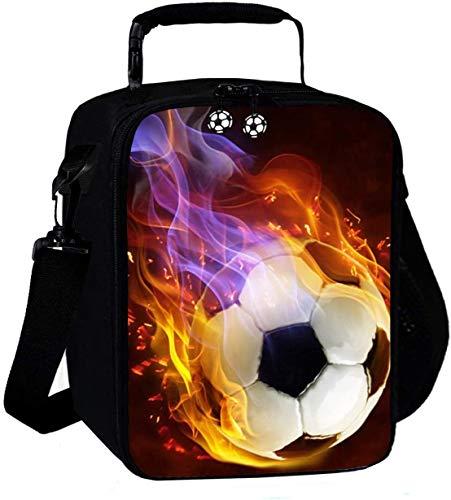 KINGAM Bolsa de almuerzo reutilizable para niños de fútbol 3D, para el almuerzo, para niños, térmica, para la escuela, con aislamiento, bolsa de hombro