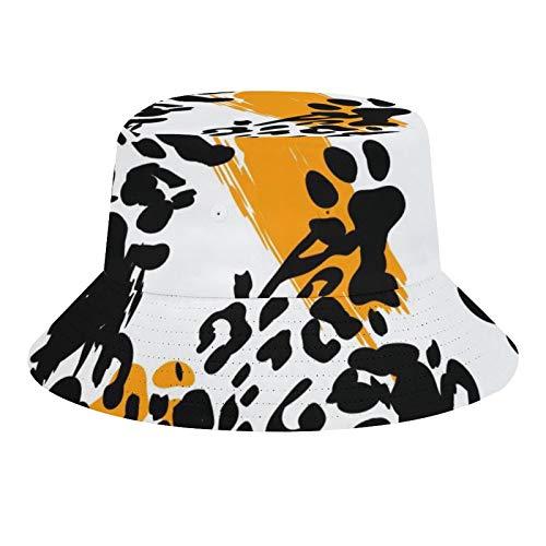 Brand Free Sombrero de pescador unisex con estampado de leopardo, estampado de animales de leopardo, plegable, informal, para viajes, playa, para hombres y mujeres