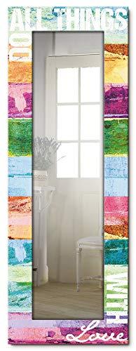 Artland Ganzkörperspiegel Holzrahmen zum Aufhängen Wandspiegel 50x140 cm Design Spiegel Schriftzug Abstrakt Kunst Kreativ Spruch Liebe Bunt T9OC