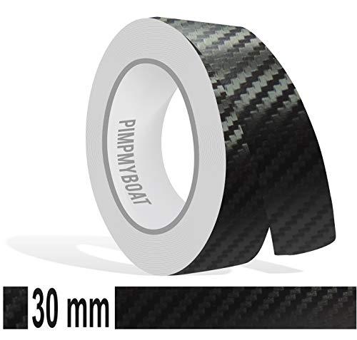 Zierstreifen 10m Carbon schwarz 30mm 3cm Glanz Zier Streifen Auto Boot Jetski Modellbau Vinyl Dekorstreifen
