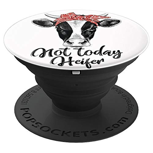 Heifer - Funny cow head cow face print colorful red bandana PopSockets Grip and Stand for Phones and Tablets