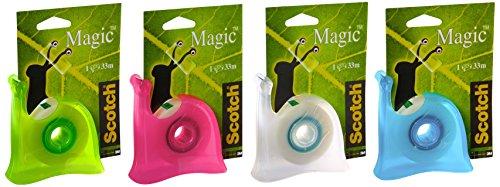 Scotch Brand Magic Dispenser Lumaca Ricaricabile Colori Misti con 1 Rotolo di Nastro Adesivo 4 Magic Tape Rotoli Nastro Adesivo 3M, Invisibile