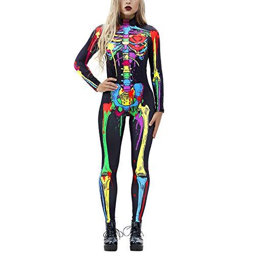 Petalum Halloween Costumes for Women 3D Skeleton Skull Stretch Cosplay Jumpsuit Bodysuit (Q, S)