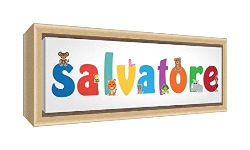 Little Helper LHV-SALVATORE-2159-FCNAT-15IT Stampa su Tela Incorniciata Legno Naturale, Disegno Personalizzabile con Nome da Ragazzi Salvatore, Multicolore, 25 x 63 x 3 cm