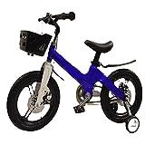 ZEMENG Bicicleta para niños, Bicicletas para niños, Bicicleta para niñas, Bicicleta de Altura Ajustable con Canasta Desmontable Durante 2-7 años,Azul,18'