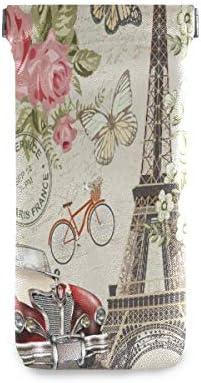 MOYYO Paris Eiffel Tower Vintage Car Eyeglass Pouch Squeeze Top Portable Sunglasses Bag Pouch product image