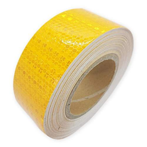 (アウプル) 高輝度 反射テープ リフレクター 5cm × 25m 自転車 オートバイ トラック 事故 防止 夜間 安全 ソーシャル・ディスタンス 社会的距離 (黄色)