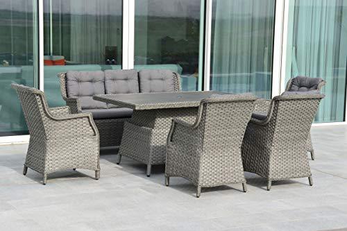OUTFLEXX - Muebles de jardín de polirratán/olefina, para 7 personas, mesa regulable en altura, color gris