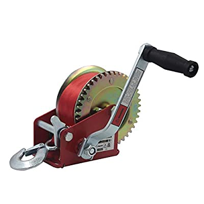 OPENROAD 1500lbs Hand Winch Hand Crank Winch, Boat Trailer Winch, with 8m (26ft) Red Strap Manual Winch, Quality Trailer Towing Winch (Red 1500lbs)