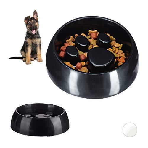 Relaxdays 2 x Anti Schling Napf, Fressnapf für Hund & Katze, Langsam Fressen, Großer Futternapf, spülmaschinenfest, schwarz