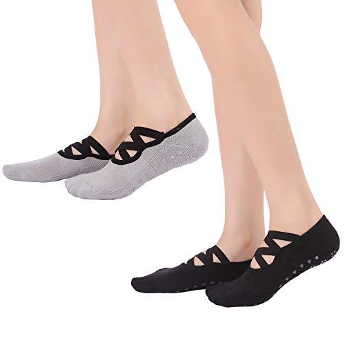Calcetines de yoga para mujer (2 pares), agarres antideslizantes y correas, calcetines de algodón para pilates, fitness, barra, ballet, baile, entrenamiento