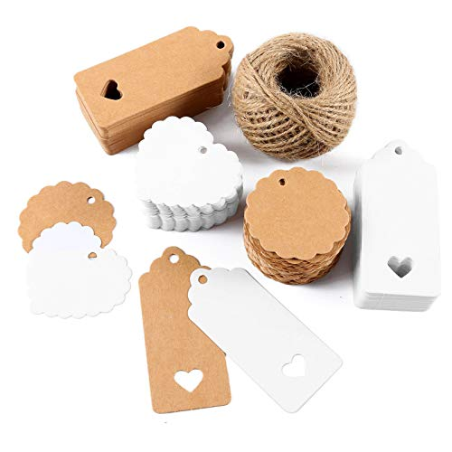 Ousuga Gift Tags,200 Pieces Kraft Paper Tags Lovely Hollow Heart Brown White DIY Tags for Christmas Birthday Wedding Favour Cards with 30 Meters Jute Twine String for Luggage Tag